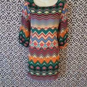 Everly Print Long Sleeve Mini Dress Size Large